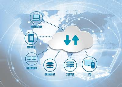 Multiple devices connected to a cloud with flat global map in background