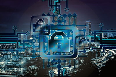 Futuristic city scene with padlocks on a computer board pattern