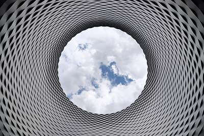 Clouds in the top of a spiral funnle