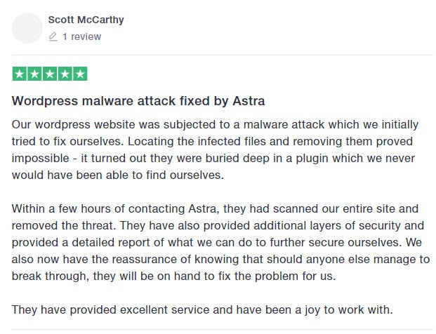 Astra security suite customer review